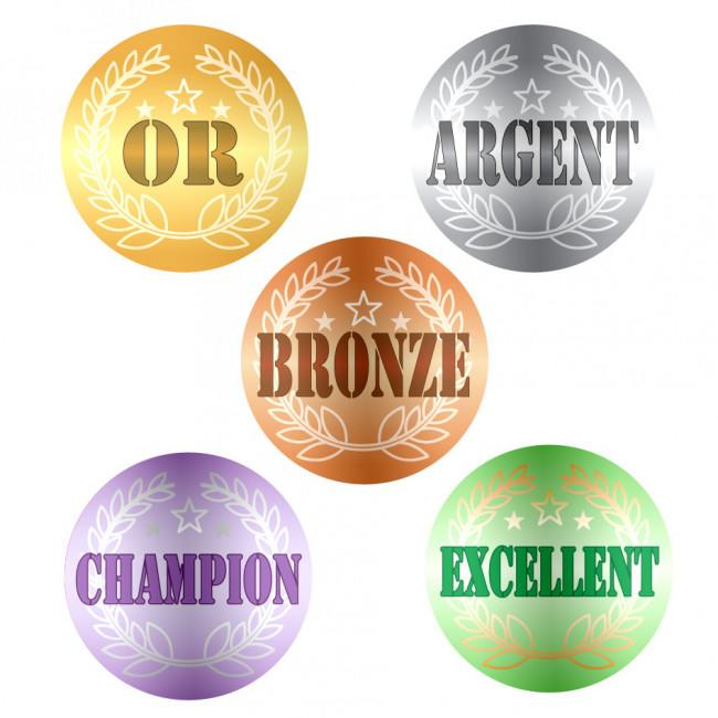 Autocollants Sport | OR, ARGENT, BRONZE, CHAMPION, EXCELLENT