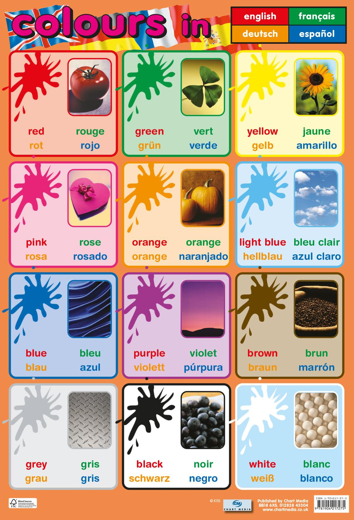 Posters Educatif | Couleurs en 4 Langues