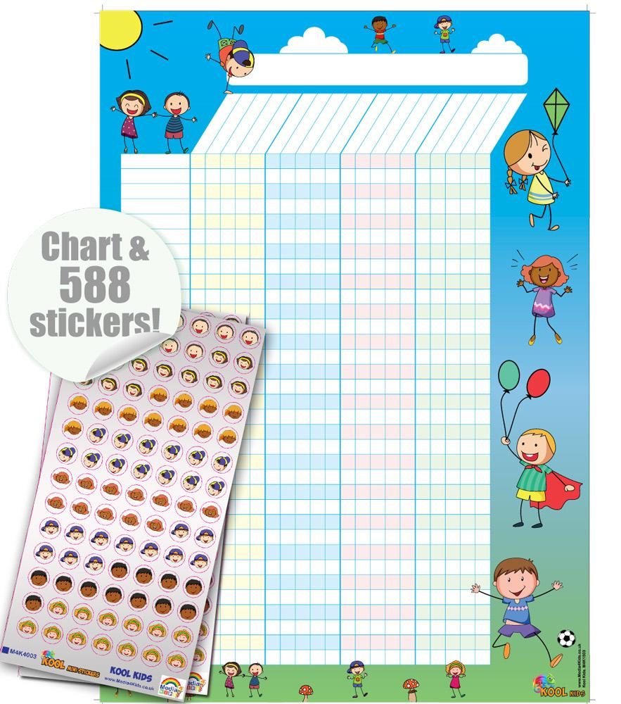 Tableaux Recompense | Kool Kids Lot de Tableau de Récompense / Stickers