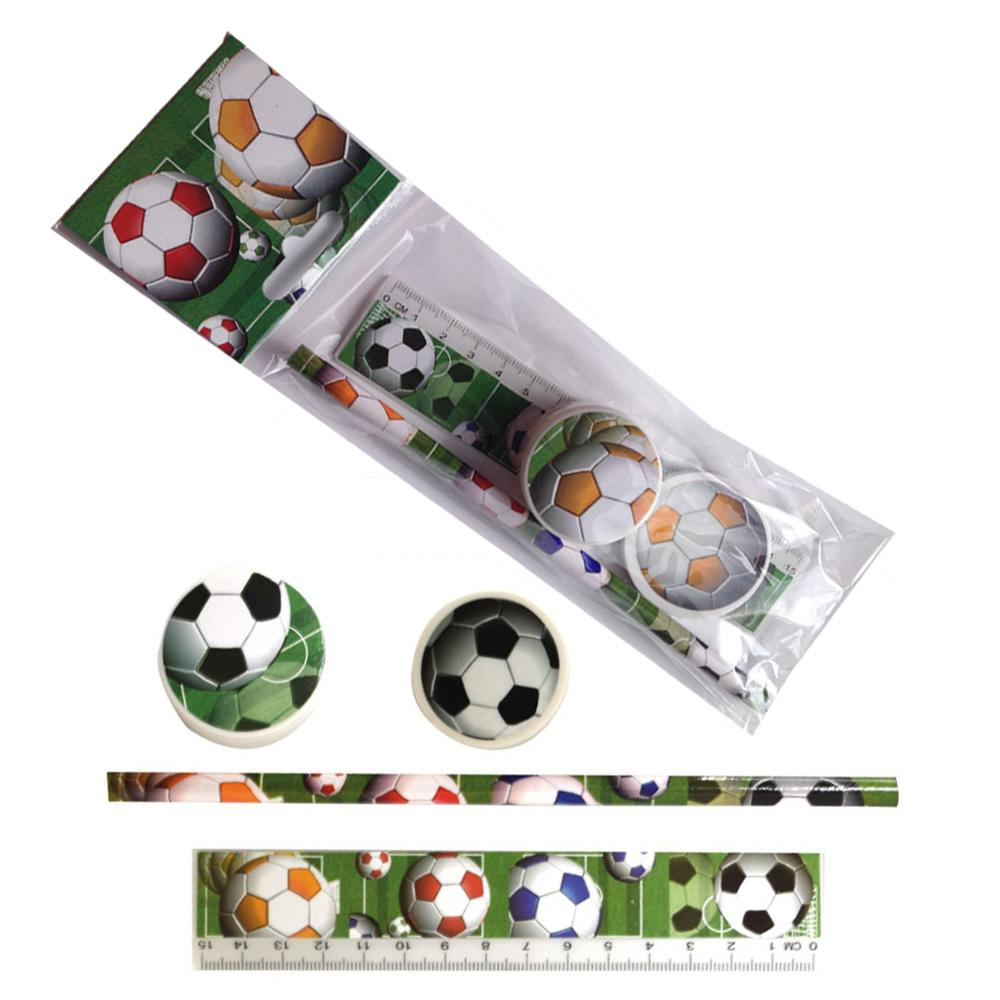 Ensemble de papeterie d'enfants | Lot de 12 Set Motif Football 4 Pièces