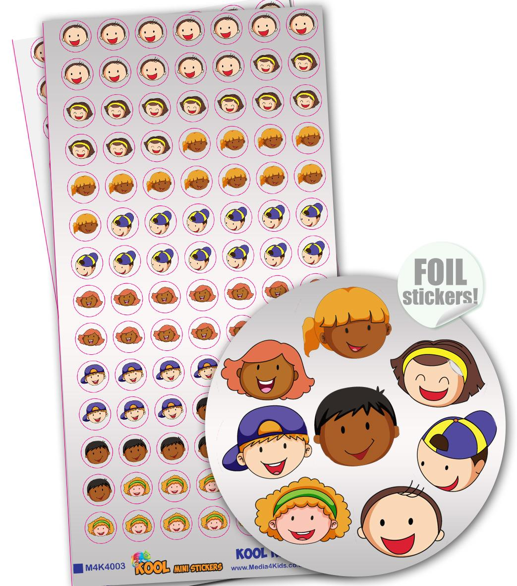 Stickers Visages Kids | Kool Kids Autocollants Brilliante Mini