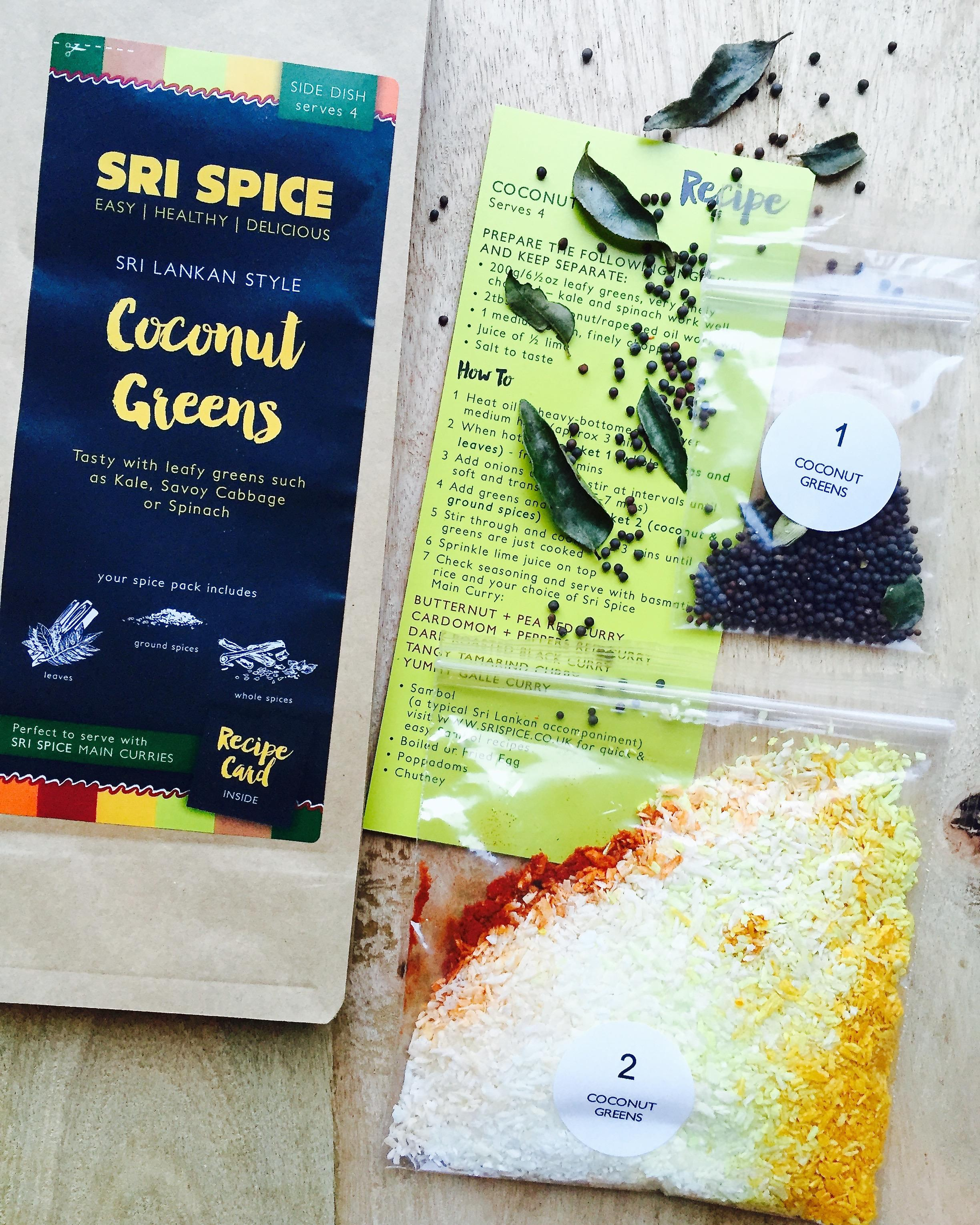 Coconut Greens Spice kit and recipe card