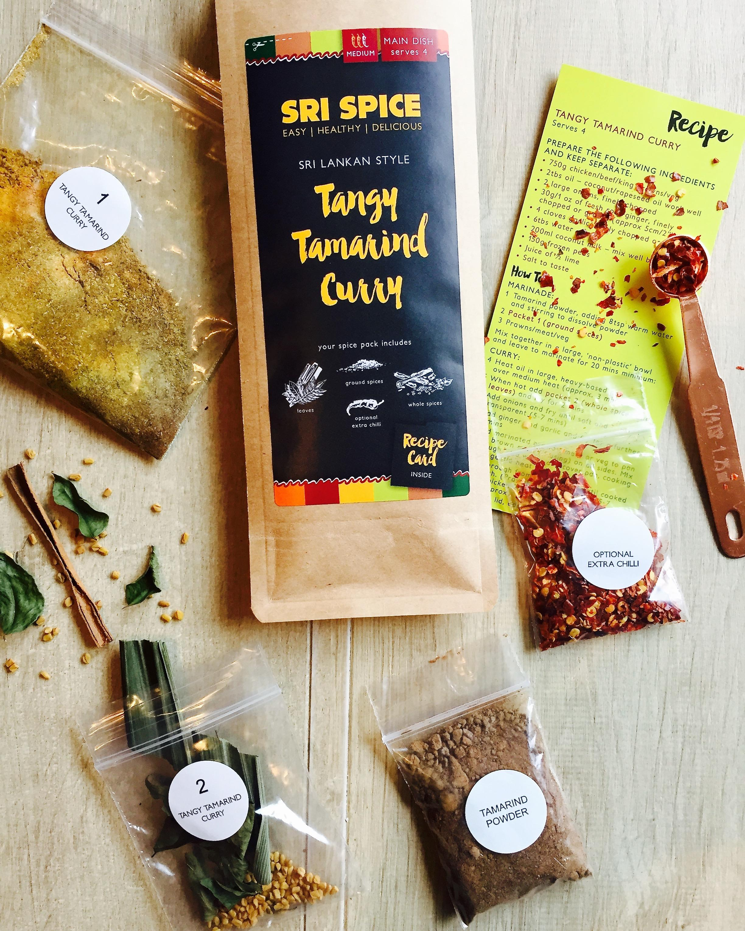 Tangy Tamarind Recipe card and spices