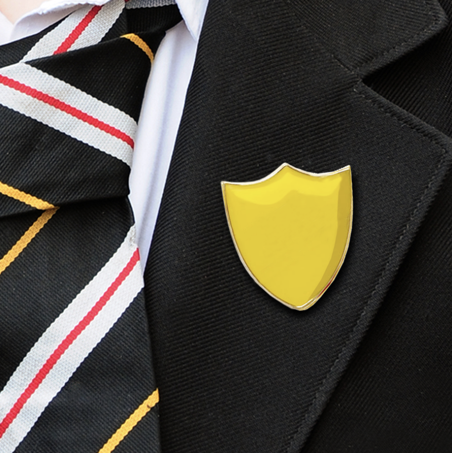 Plain shield badges yellow