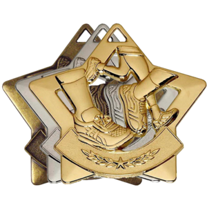 Gold, Silver, Bronze Star Shaped Running Badges