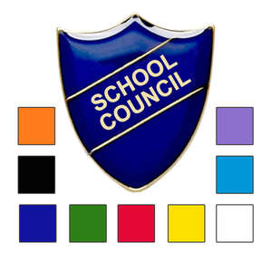 Coloured Shield Shaped School Council Badges