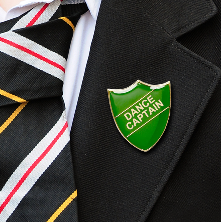 Dance Captain shield school badges green