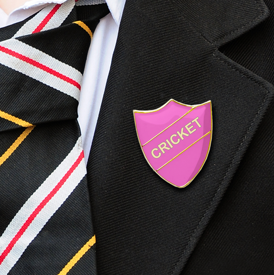Cricket School Badges shield pink
