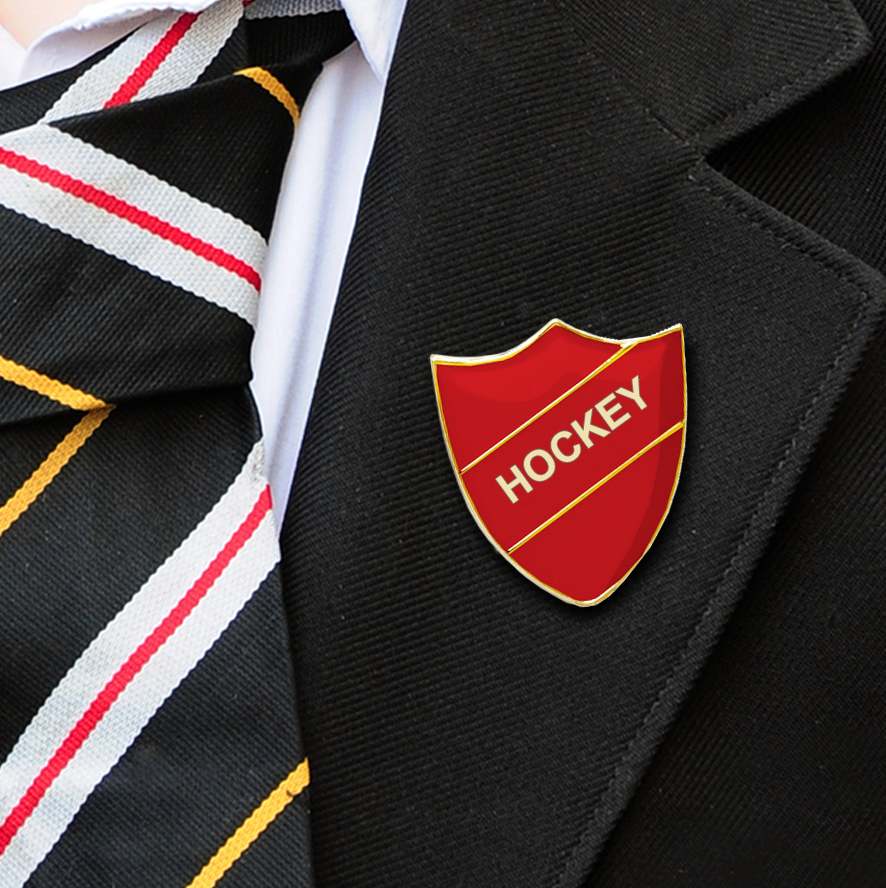 HOCKEY SCHOOL BADGES SHIELD RED