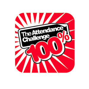 100% Red Attendance Challenge Badge