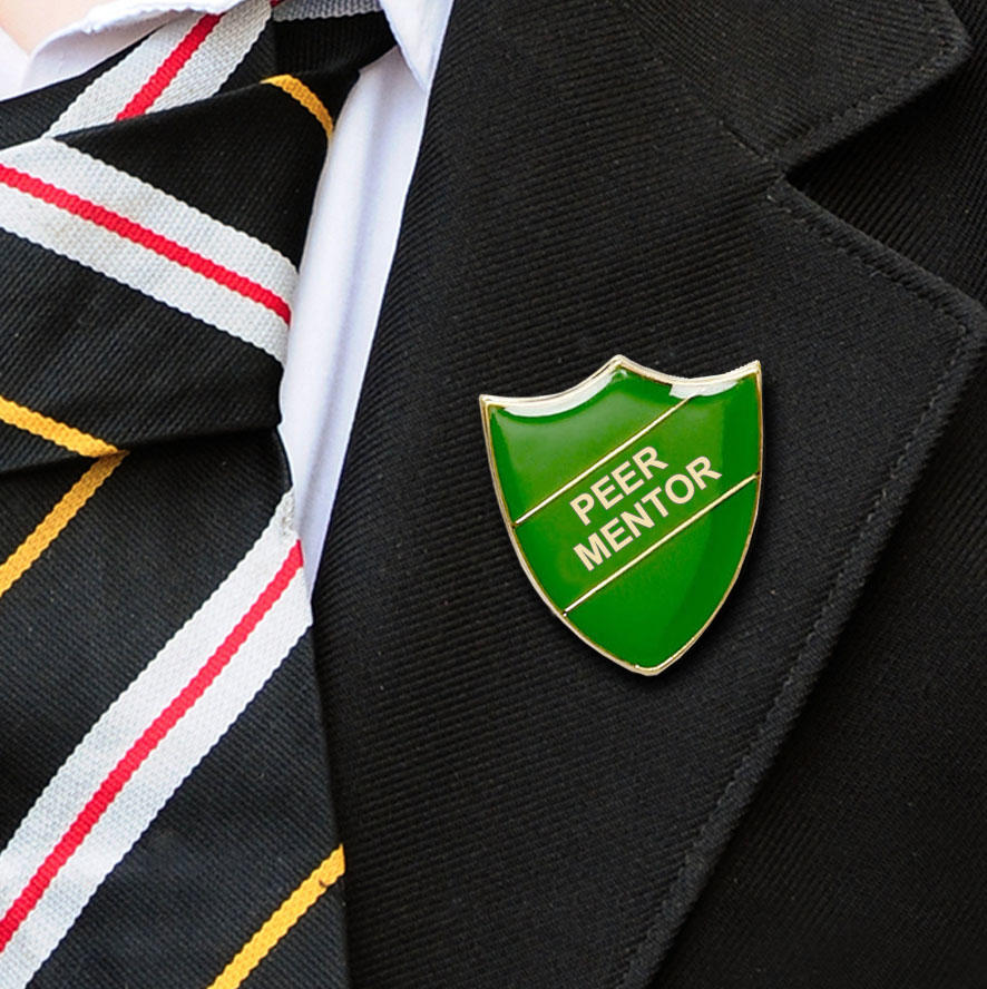 Green Shield Shaped Peer Mentor Badge