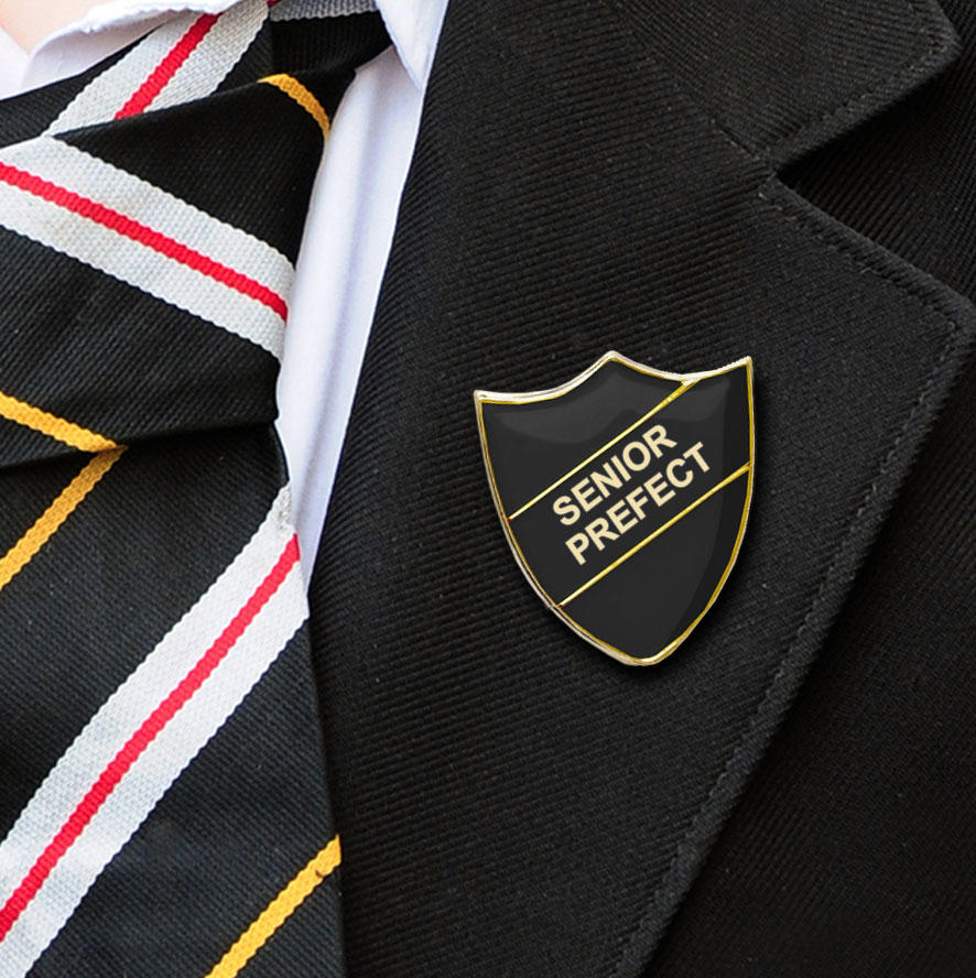 Black Shield Shaped Senior Prefect Badge