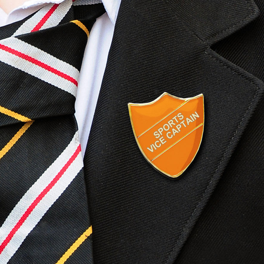Orange Shield Shaped Sports Vice Captain Badge