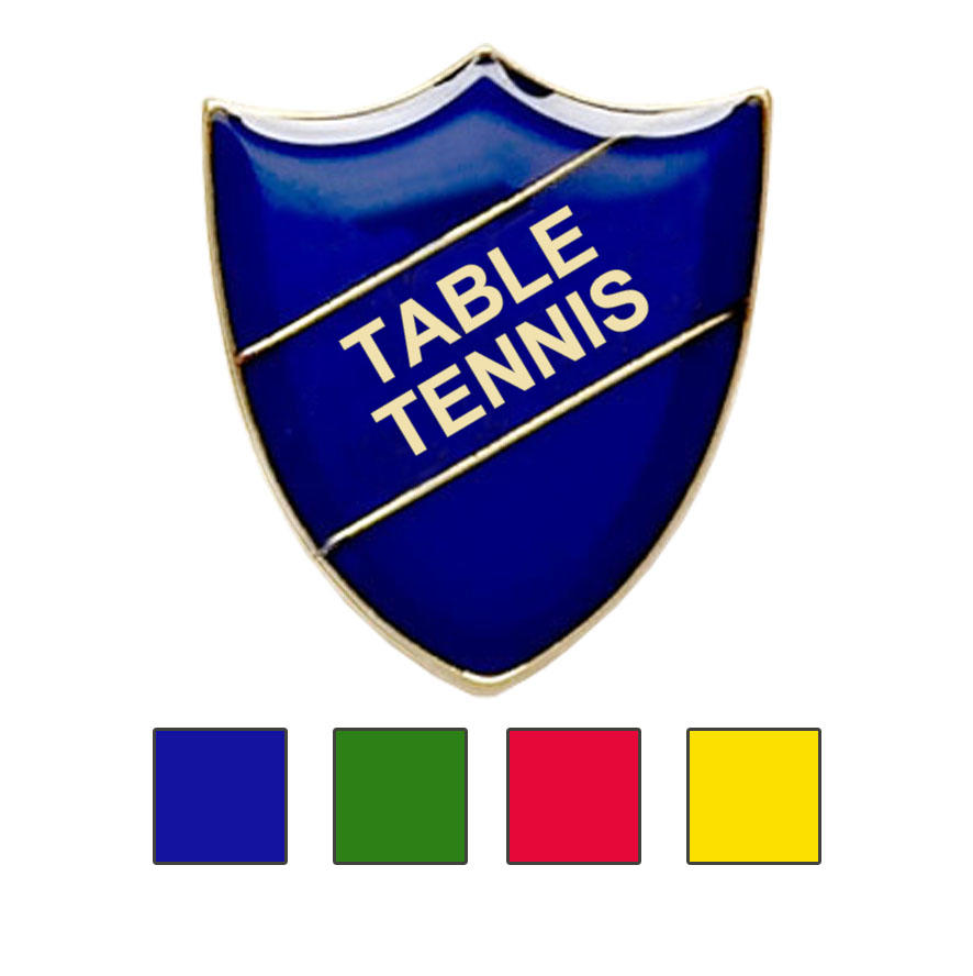 Coloured Shield Shaped Table Tennis Badges