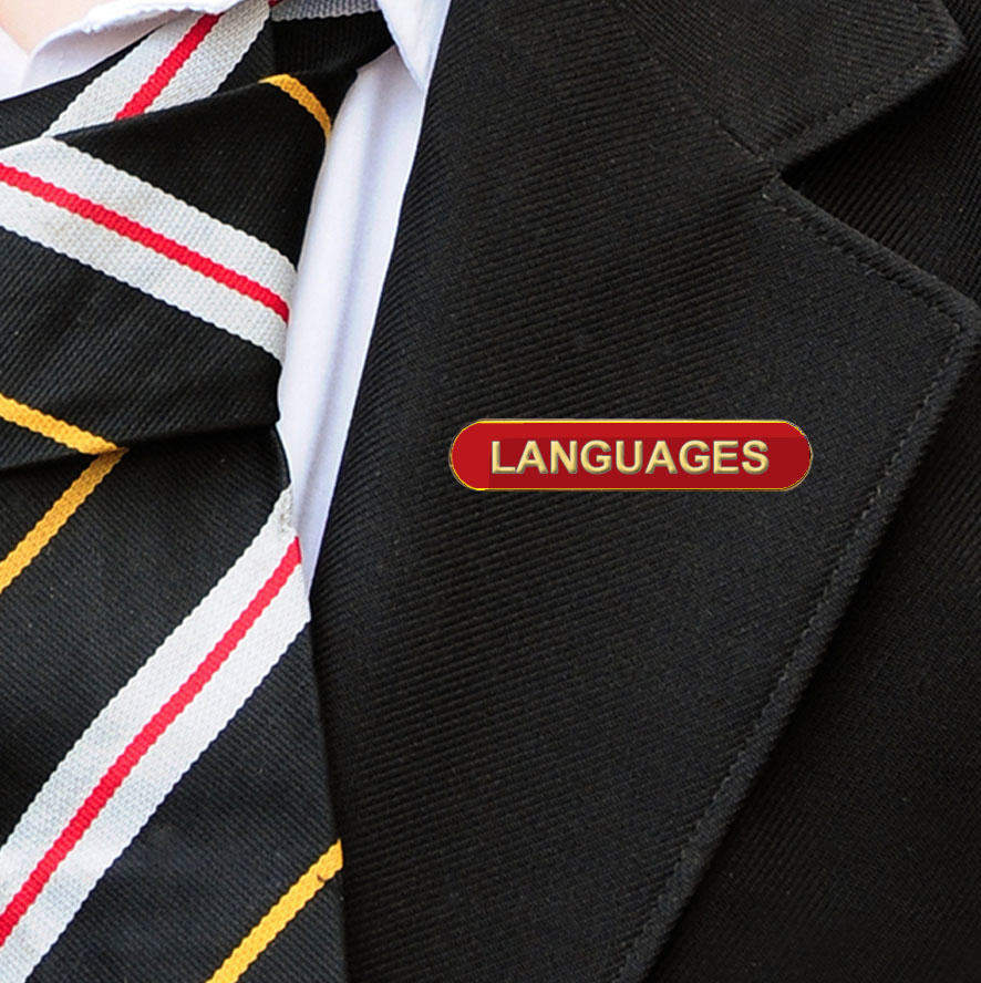 Red Bar Shaped Languages Badge