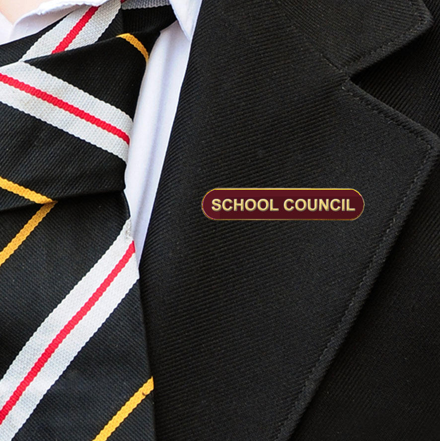 Maroon Bar Shaped School Council Badge
