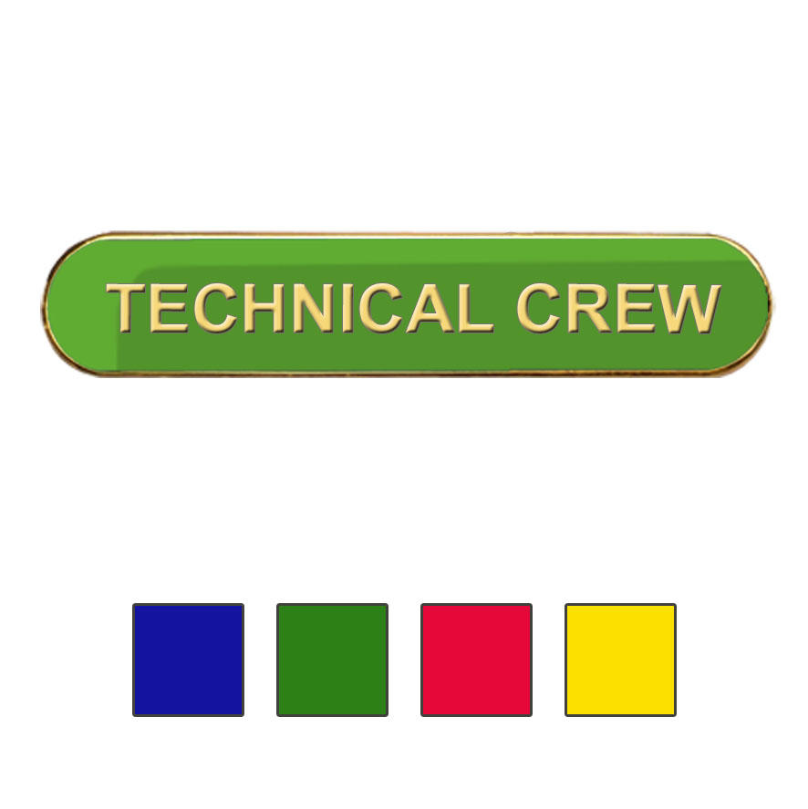 Coloured Bar Shaped Techincal Crew Badges