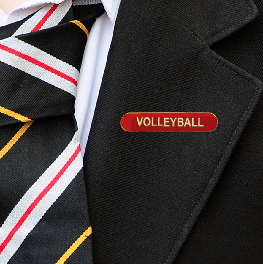 Red Bar Shaped Volleyball Badge