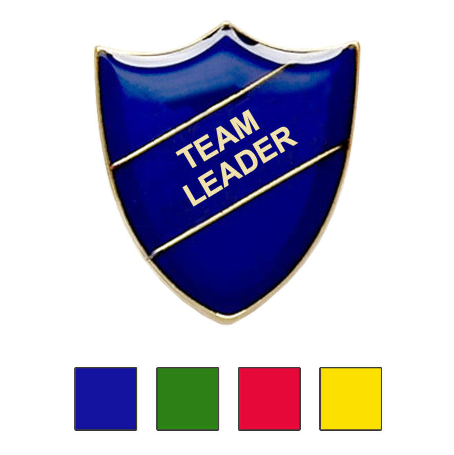Coloured Shield Shaped Team Leader Badges