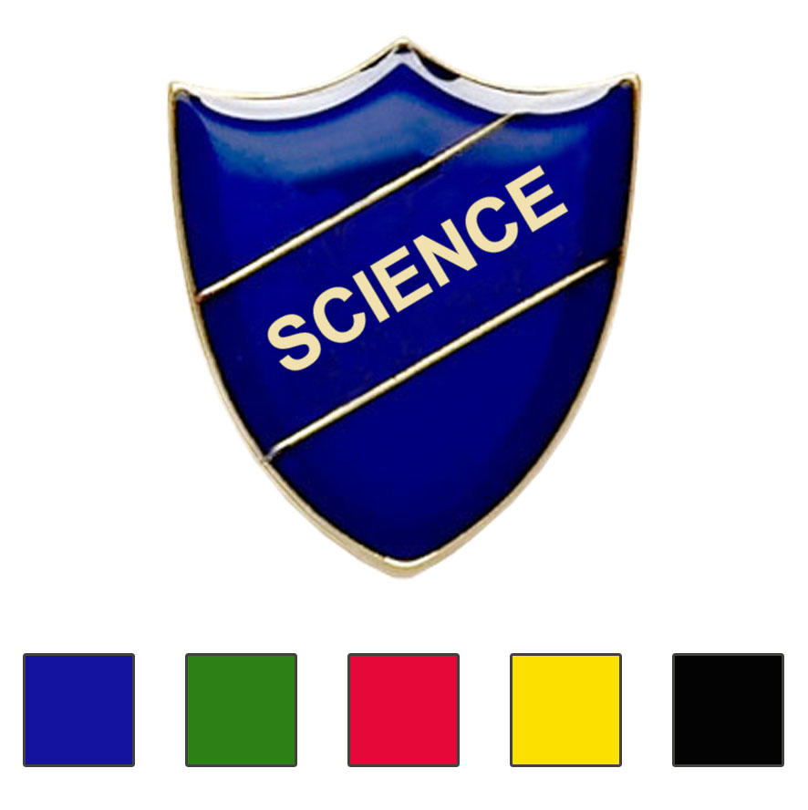 Coloured Shield Shaped Science Badges