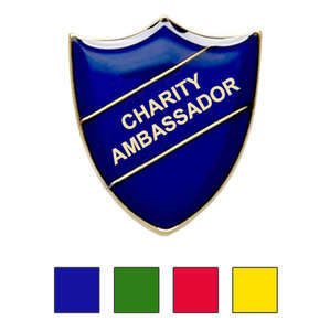 Coloured Shield Shaped Badges Charity Ambassaor Badges