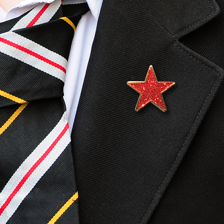 Red Star Shaped Glitter Badge