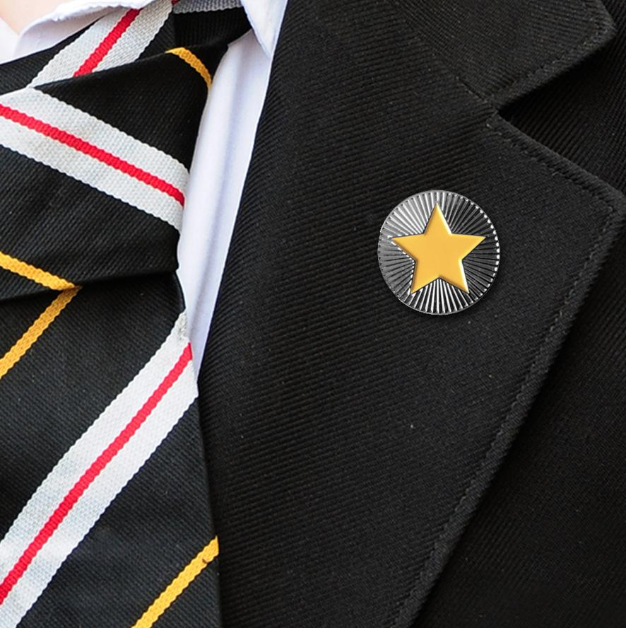 Round on Silver with Yellow Star badges