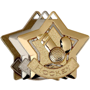 Gold, Silver, Bronze Star Shaped Hockey Badges
