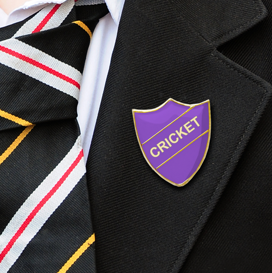 Cricket School Badges shield purple