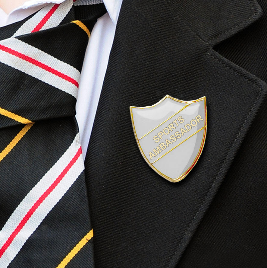 White Shield Shaped Sports Ambassador Badge