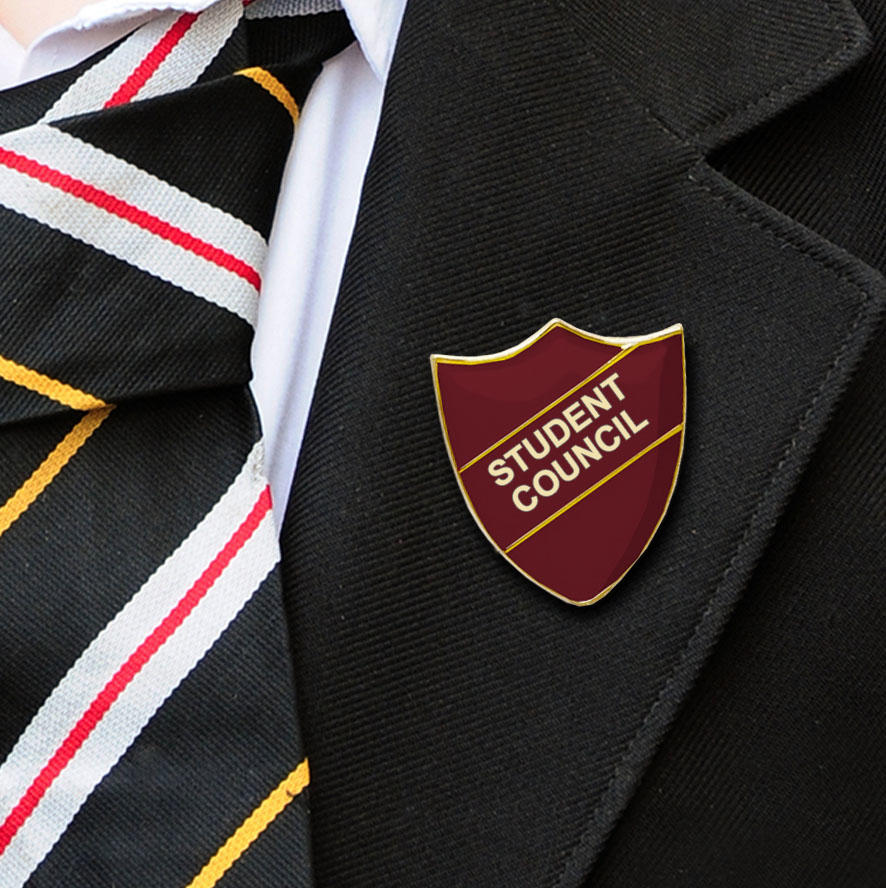 Maroon Shield Shaped Student Council Badge