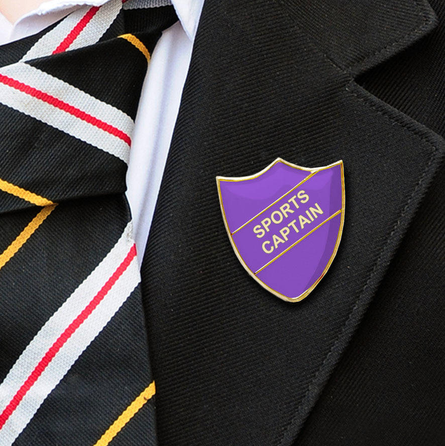 Purple Shield Shaped Sports Captain Badge