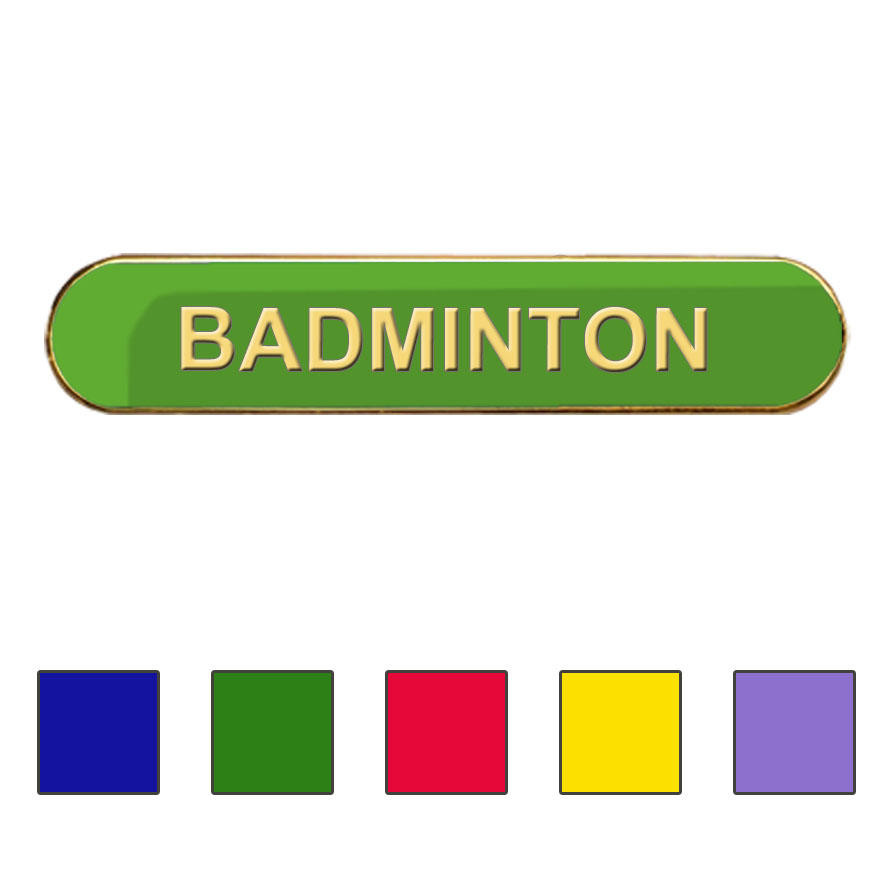 Coloured Bar Shaped Badminton Badges
