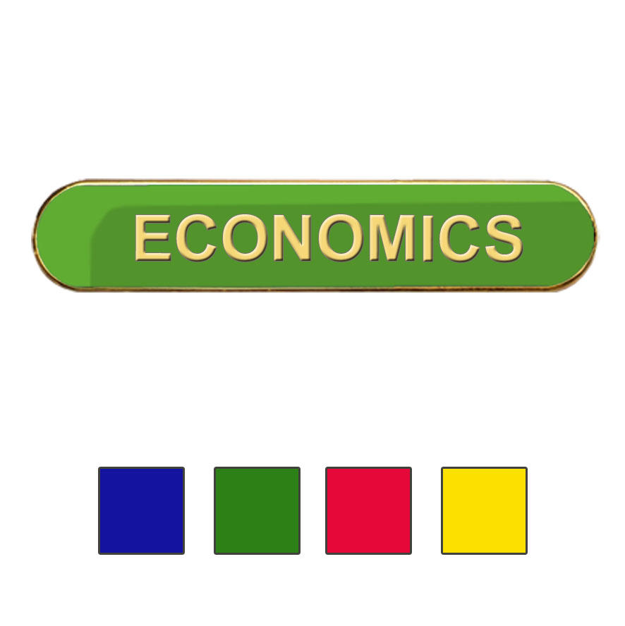Coloured Bar Shaped Economics Badges