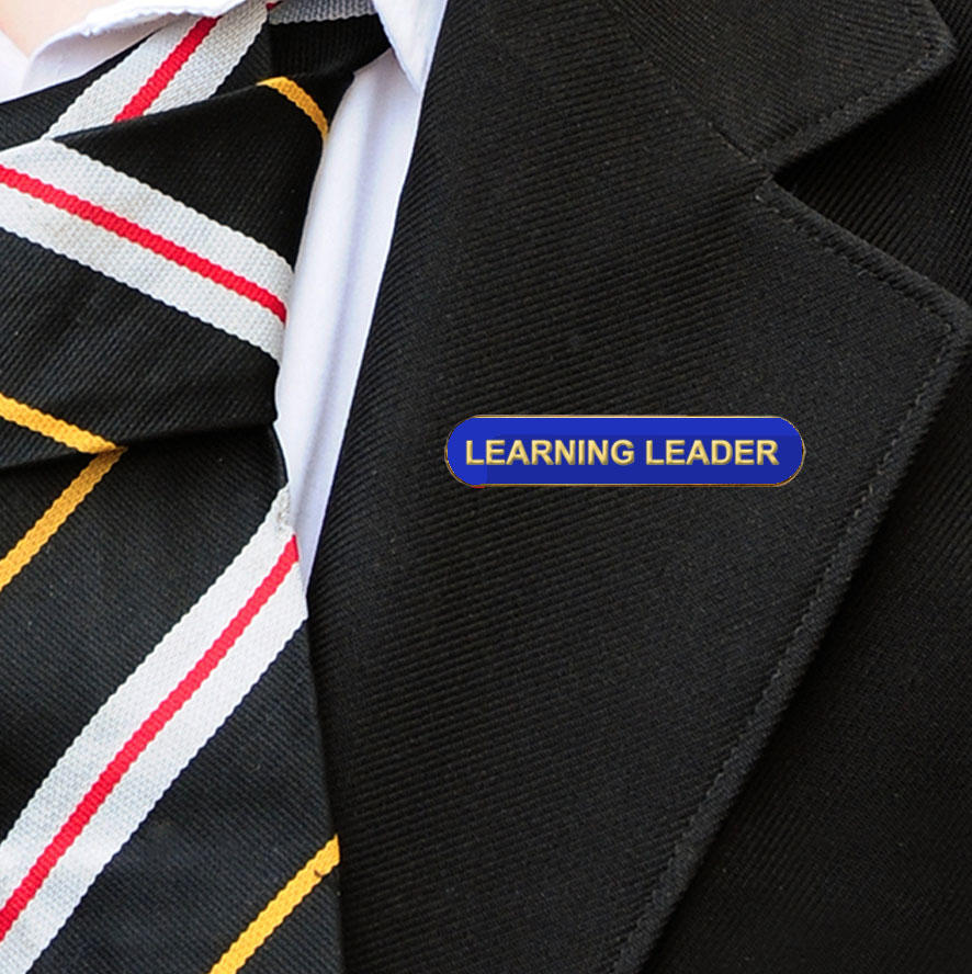 Blue Bar Shaped Learning Leader Badge Badge