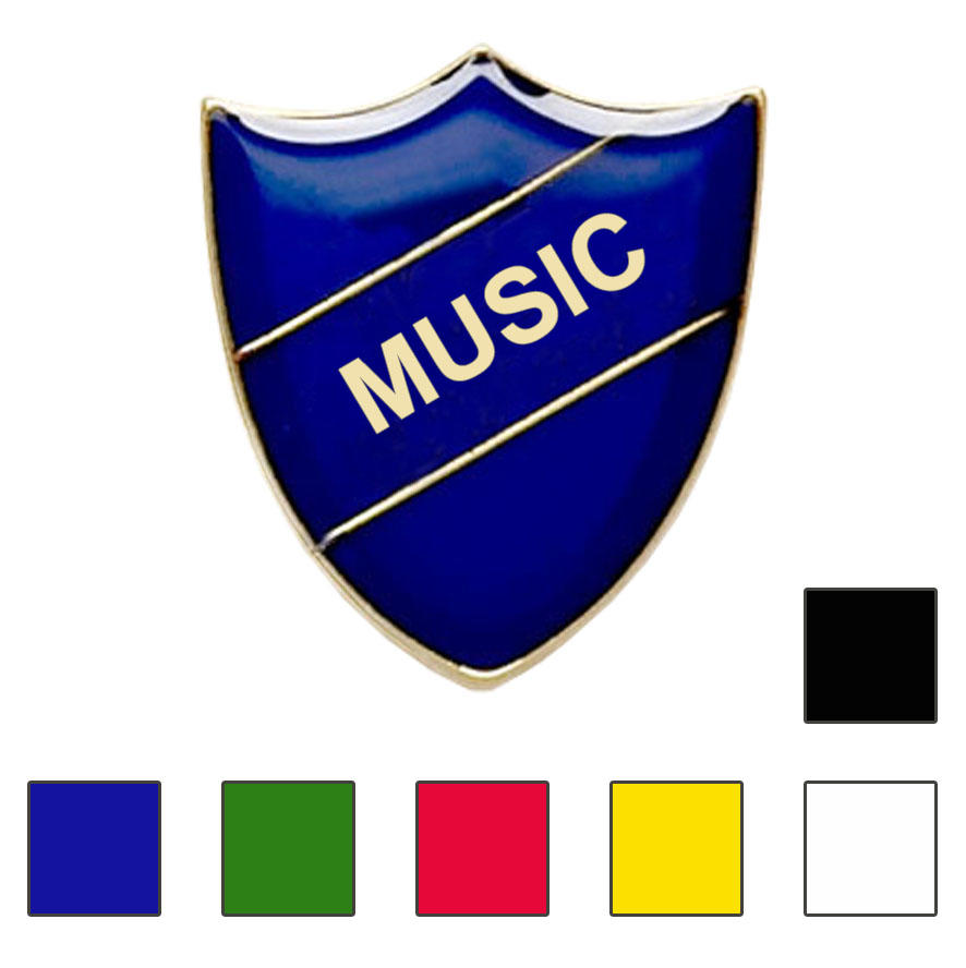 Coloured Shield Shaped Music Badges