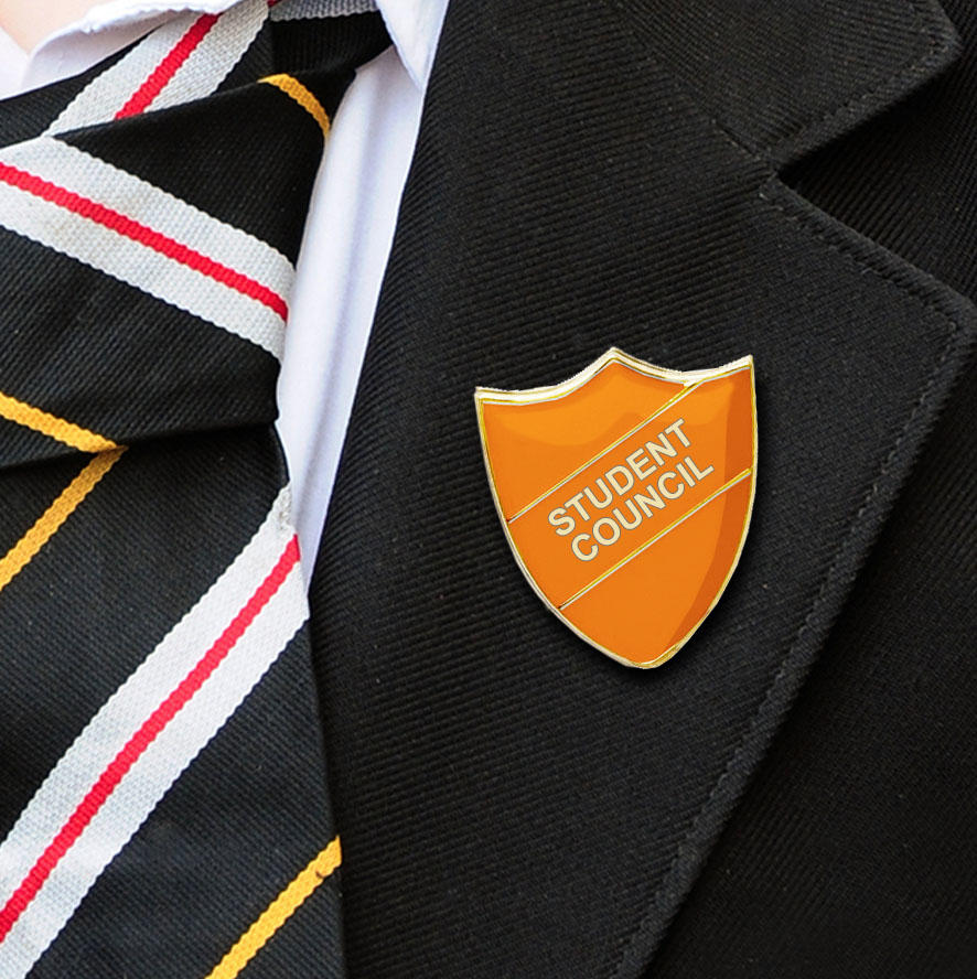 Orange Shield Shaped Student Council Badge