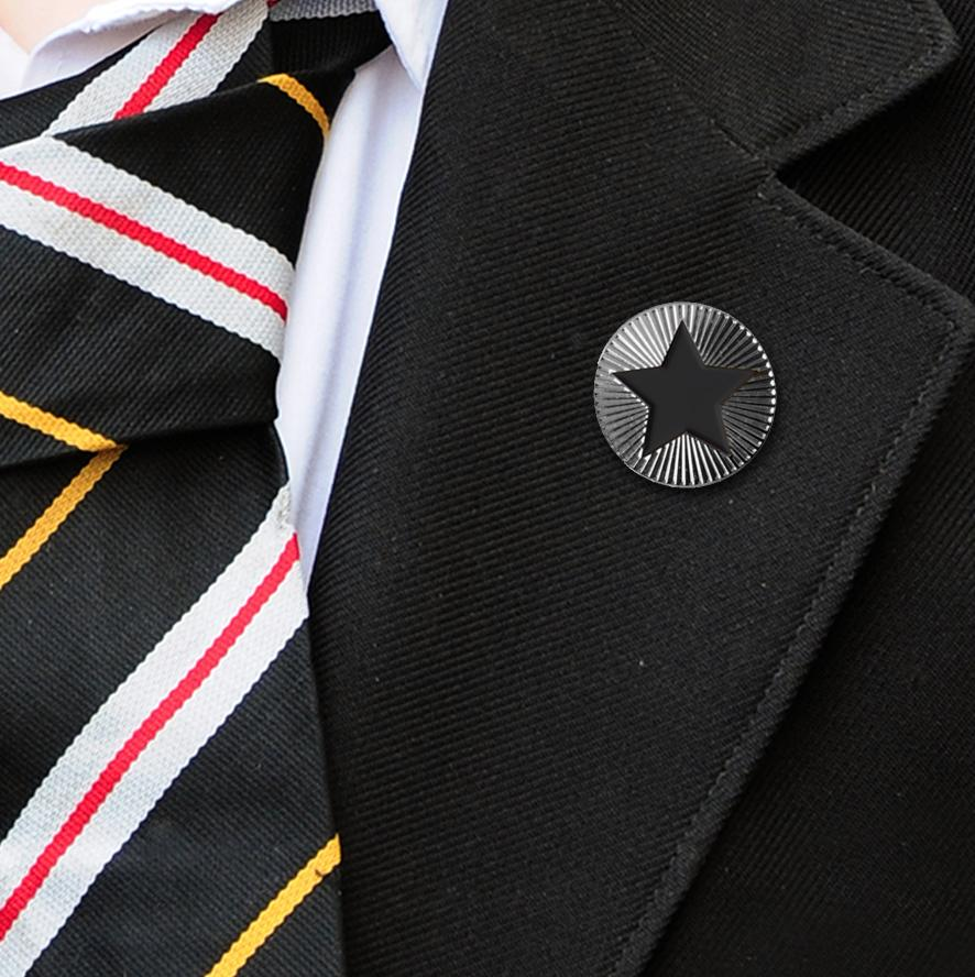 Round on Silver with Black Star badges
