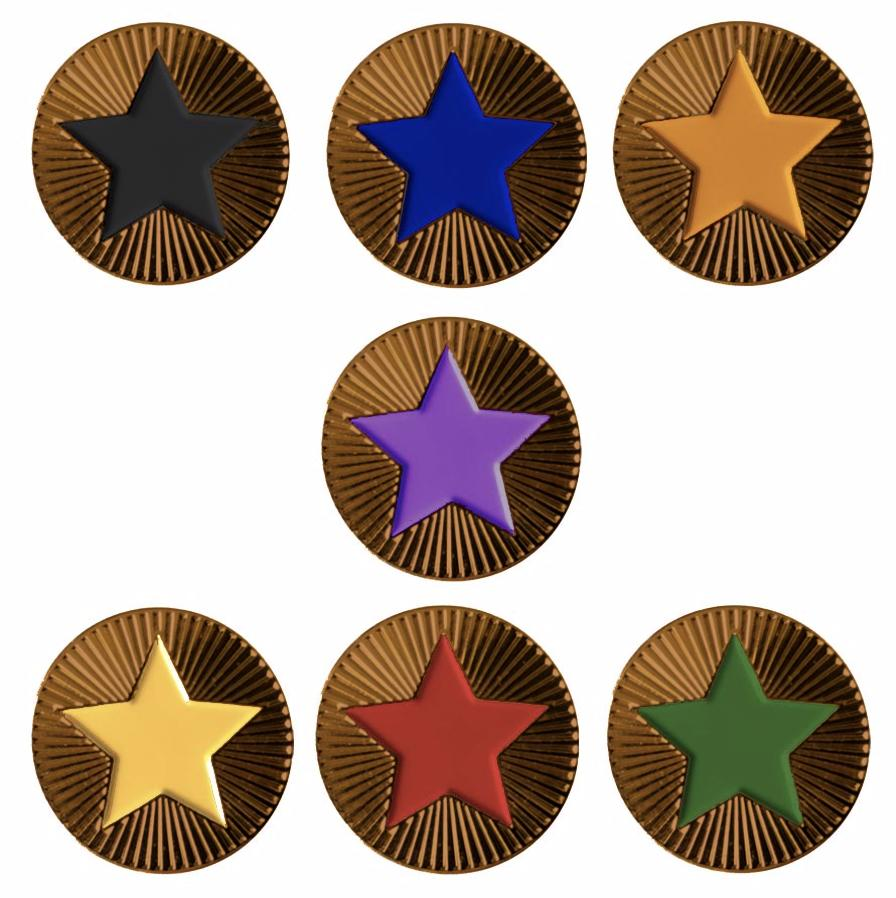 Round on Bronze with Star badges