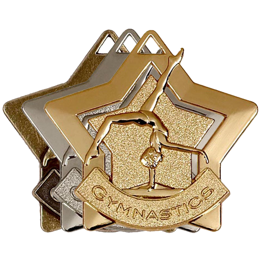 Gold, Silver, Bronze Star Shaped Gymnastics Badges