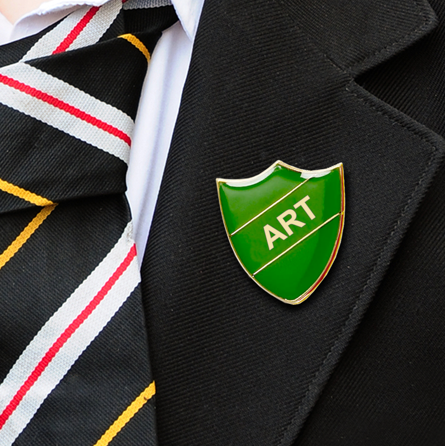 art shield school badge green