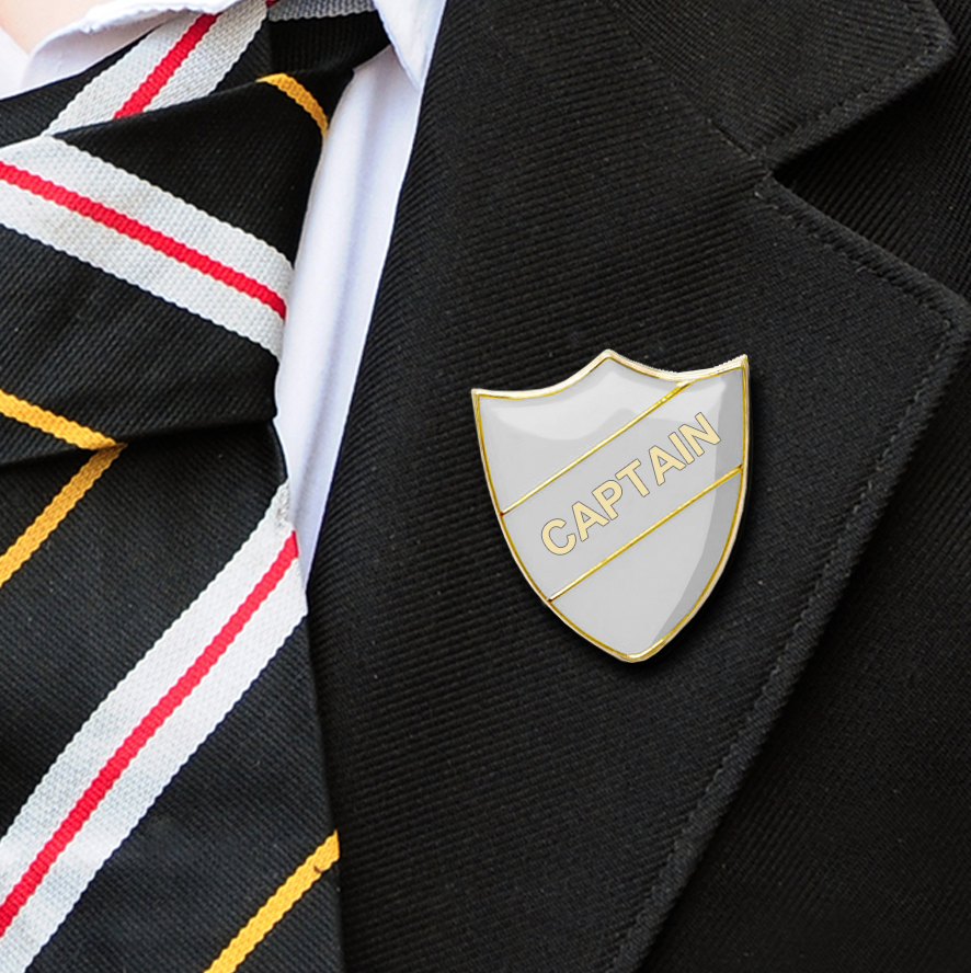 captain shield school badges white