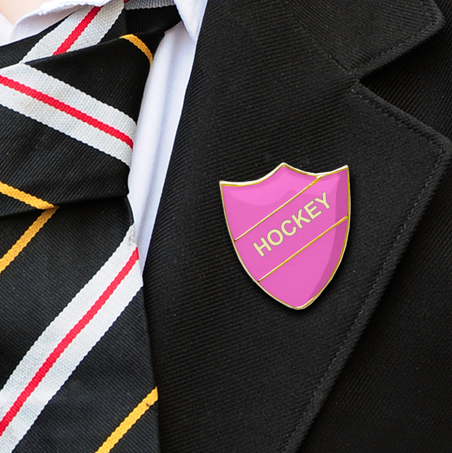 HOCKEY SCHOOL BADGES SHIELD PINK