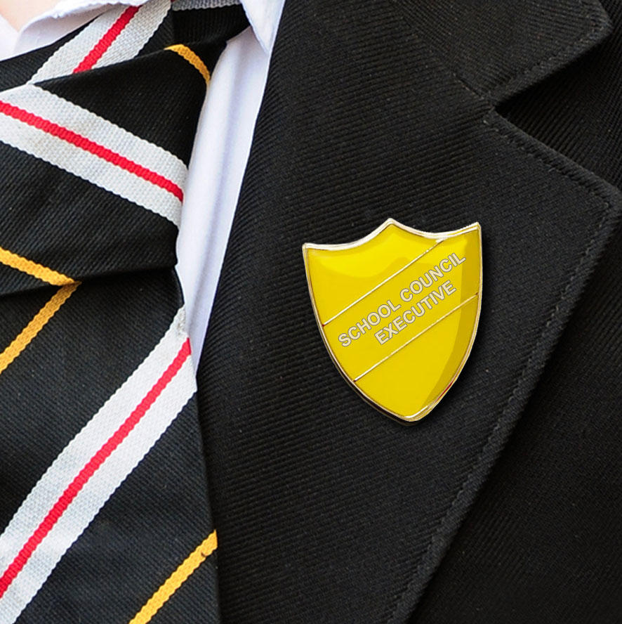 Yellow Bar Shaped School Council Executive Badge