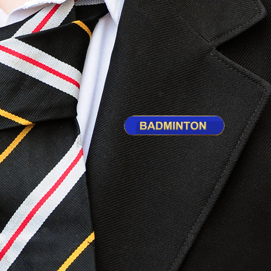 Blue Bar Shaped Badminton Badge
