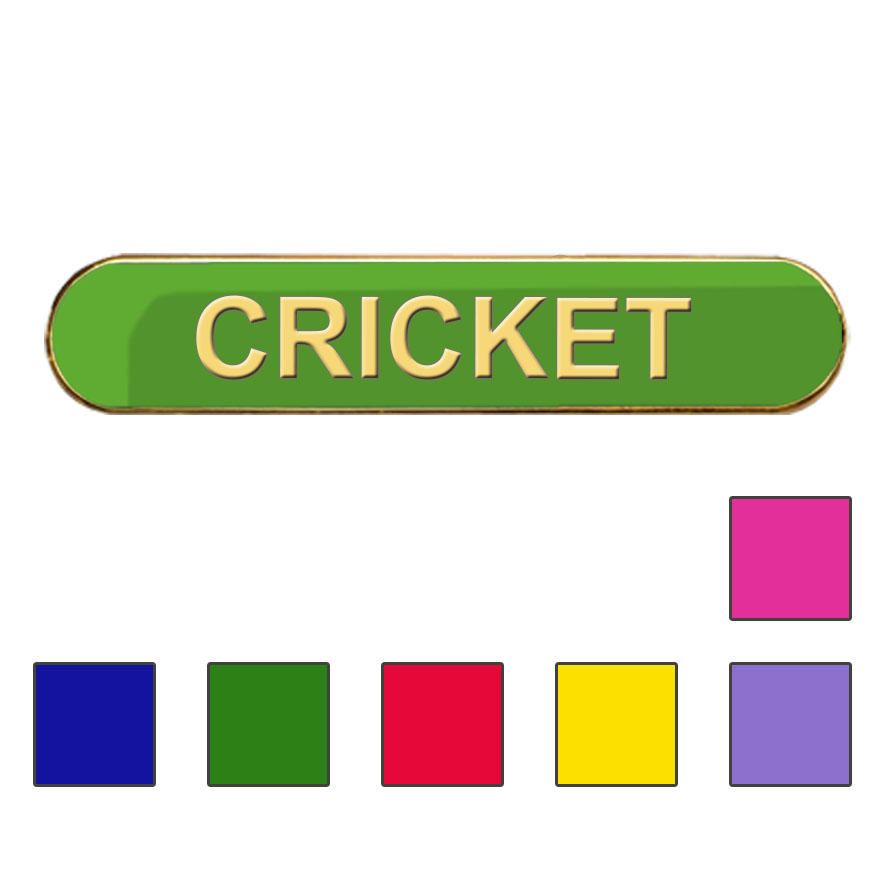 Coloured Bar Shaped Cricket Badges
