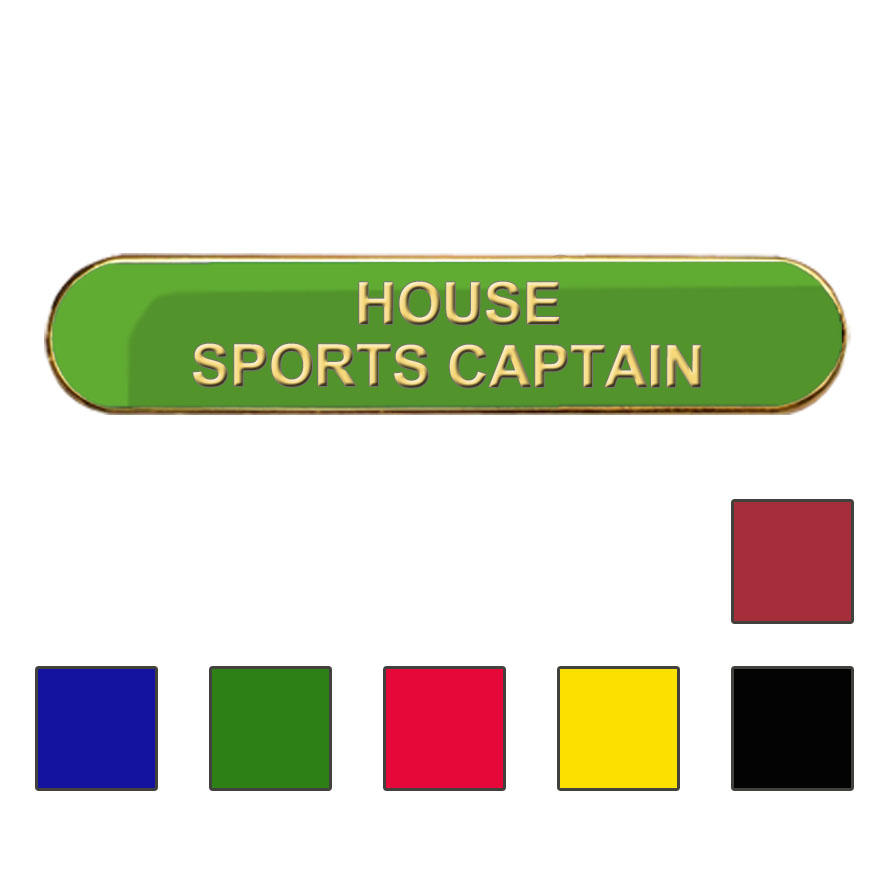 Coloured Bar Shaped House Sports Captain Badges