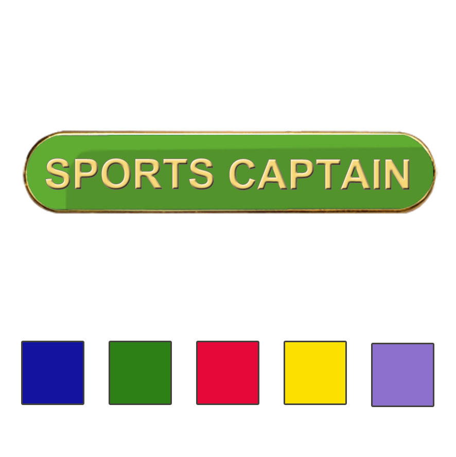 Coloured Bar Shaped Sports Captain Badges
