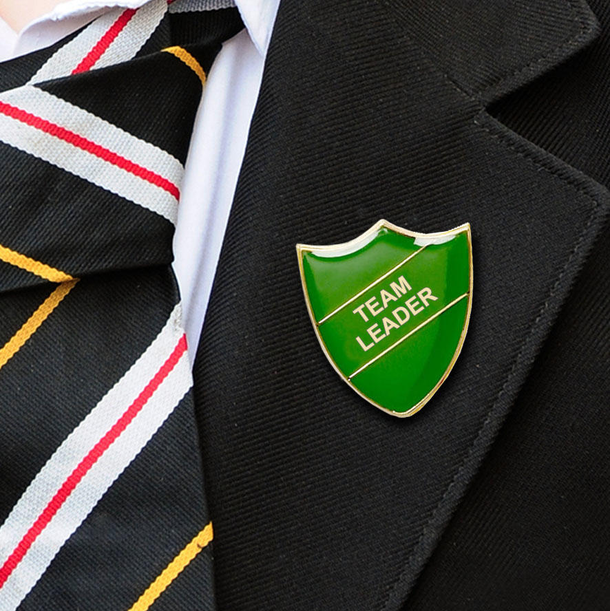 Green Shield Shaped Team Leader Badge