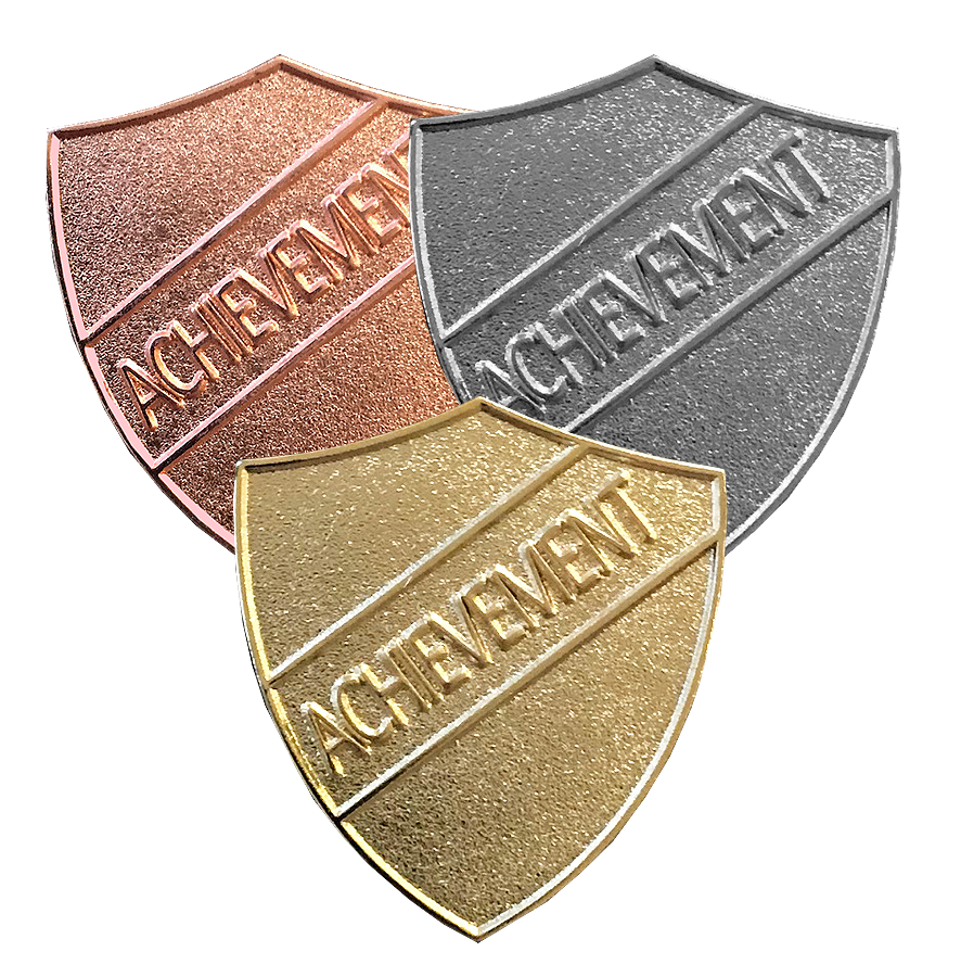 Gold, SIlver, Bronze Achievement Shield Badges